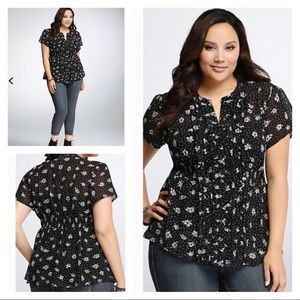 TORRID Floral Ruffled Empire Waist Chiffon Top